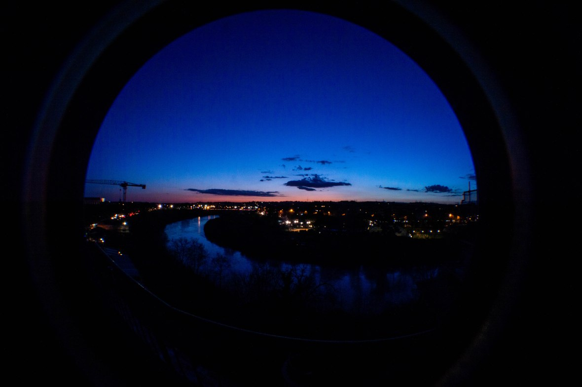 Fish Eye Sunset Over River Tiber, Rome, Italy