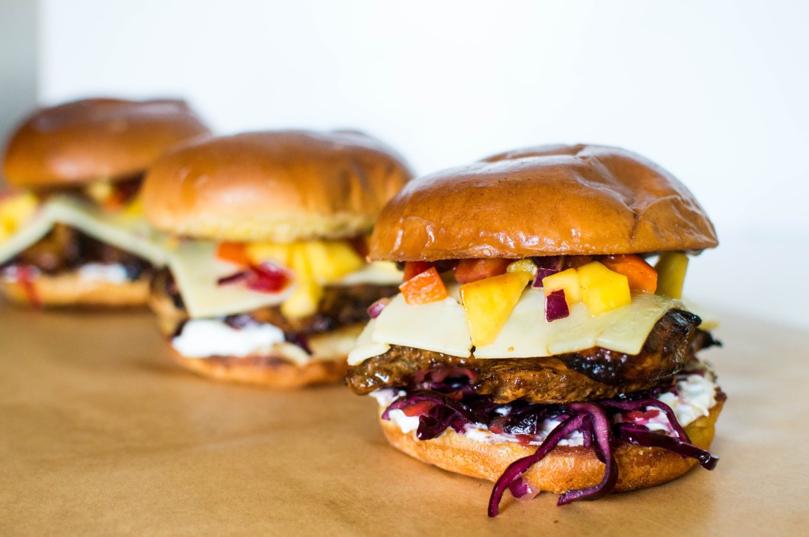 Jerk BBQ Chicken Burgers With Red Cabbage Coleslaw And Mango Salsa