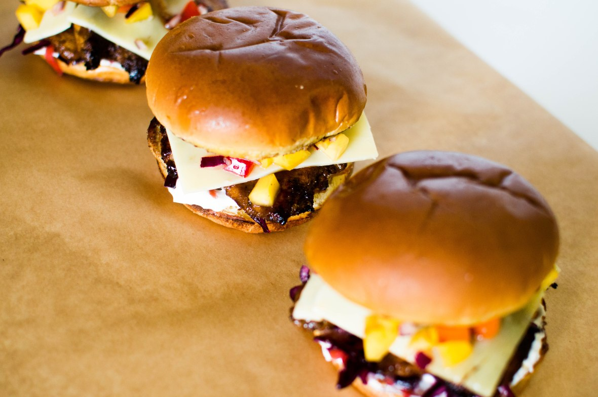 Jerk Chicken Burgers With Mango Salsa And Red Cabbage Coleslaw