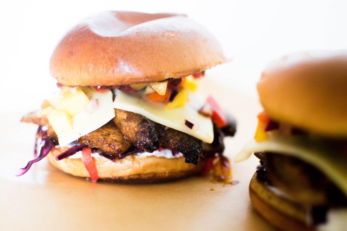 Jerk Chicken Burgers With Slaw & Mango Salsa