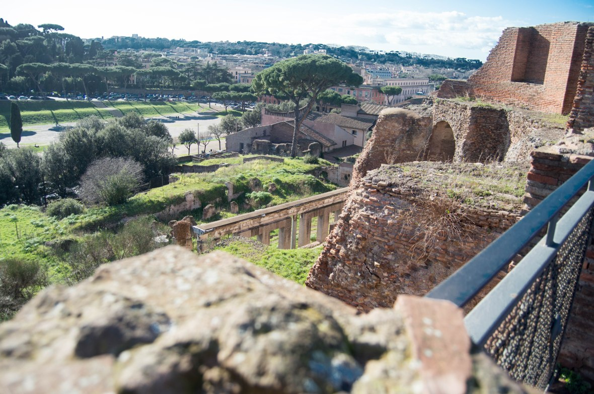 Looking Down At Ruins, Palatine Hill, Rome, Italy