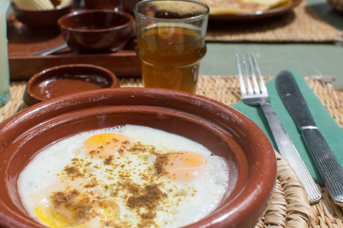 Baked Eggs At The Cafe, Majorelle Garden, Marrakech, Morocco