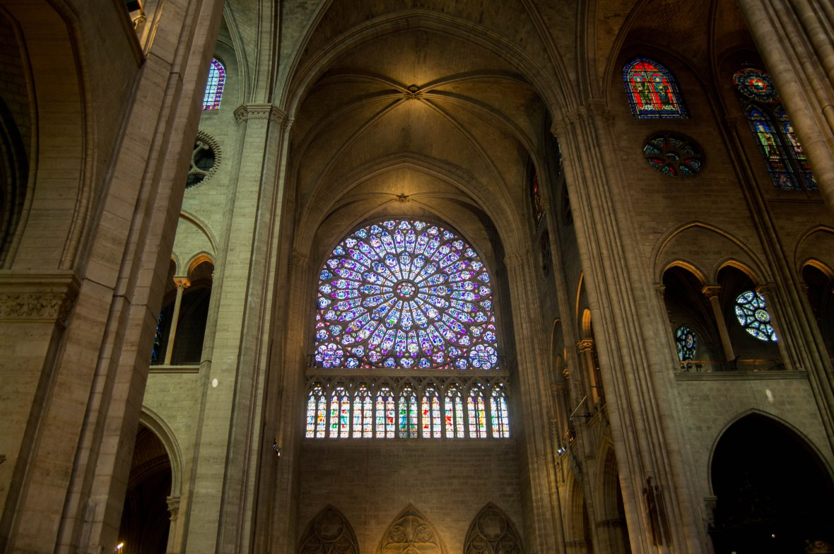 Big Round Stain Glass Window, Notre Dame, Paris, France