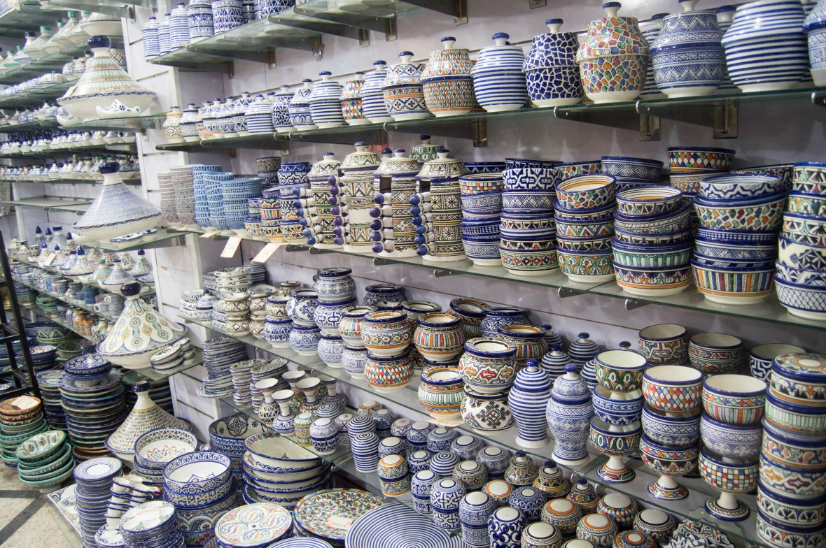 Blue And White Crockery, Souks, Marrakech, Morocco