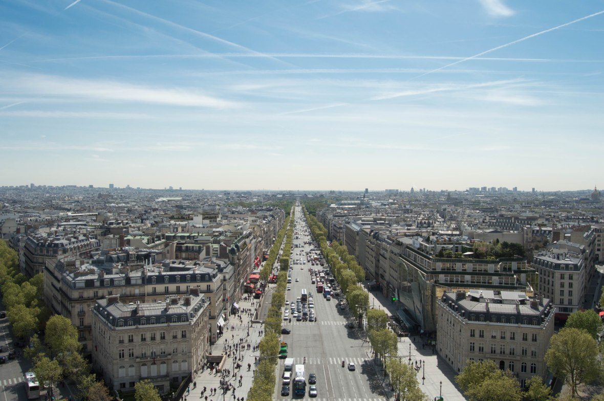 Champs Elysees From The Arc Du Triomphe, Paris, France