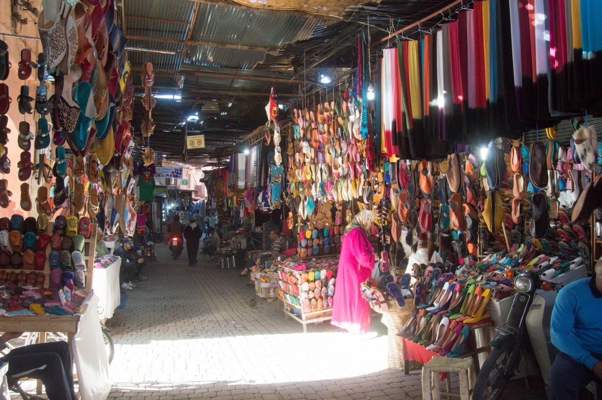 Colourful Leather Shoes, Souk, Marrakech, Morocco