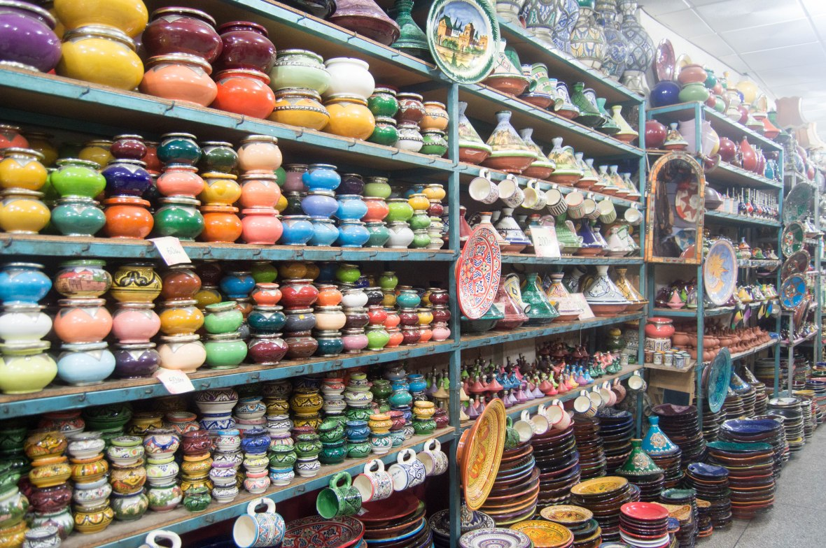 Colourful Pots and Plates, Souks, Marrakech, Morocco