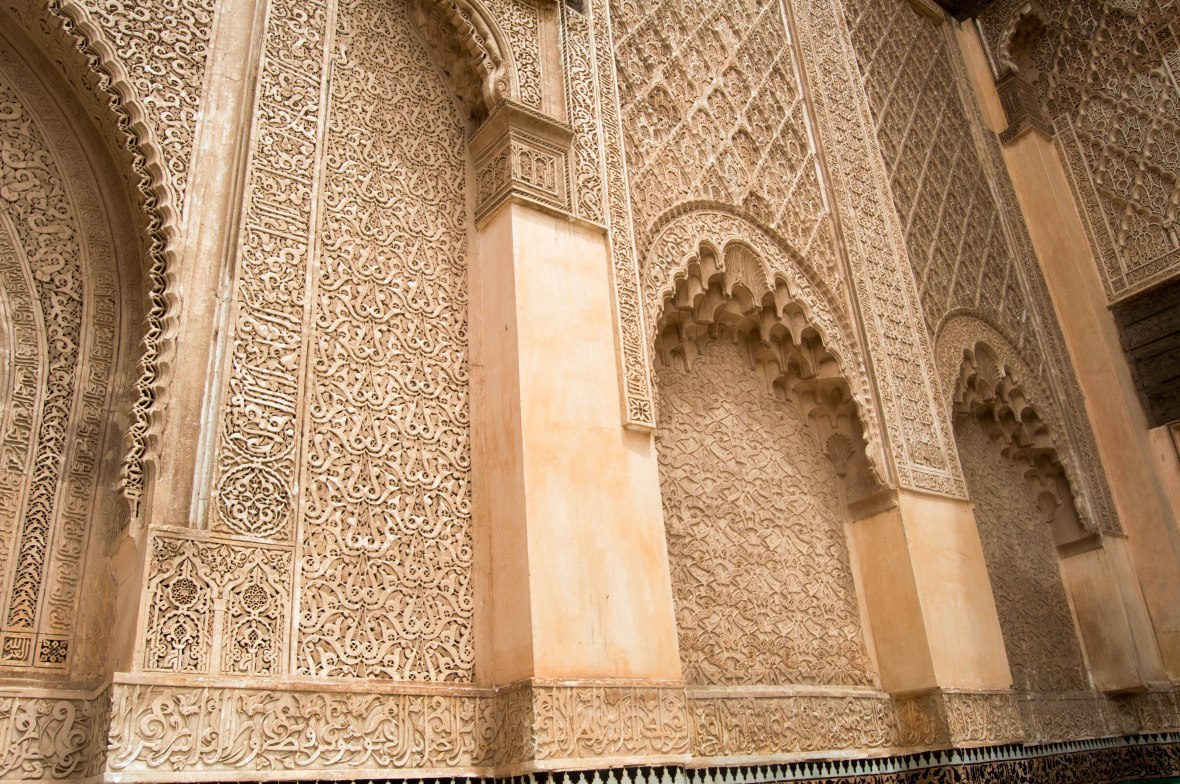 Detailed Arches, Ben Youssef Madrasa, Marrakech, Morocco