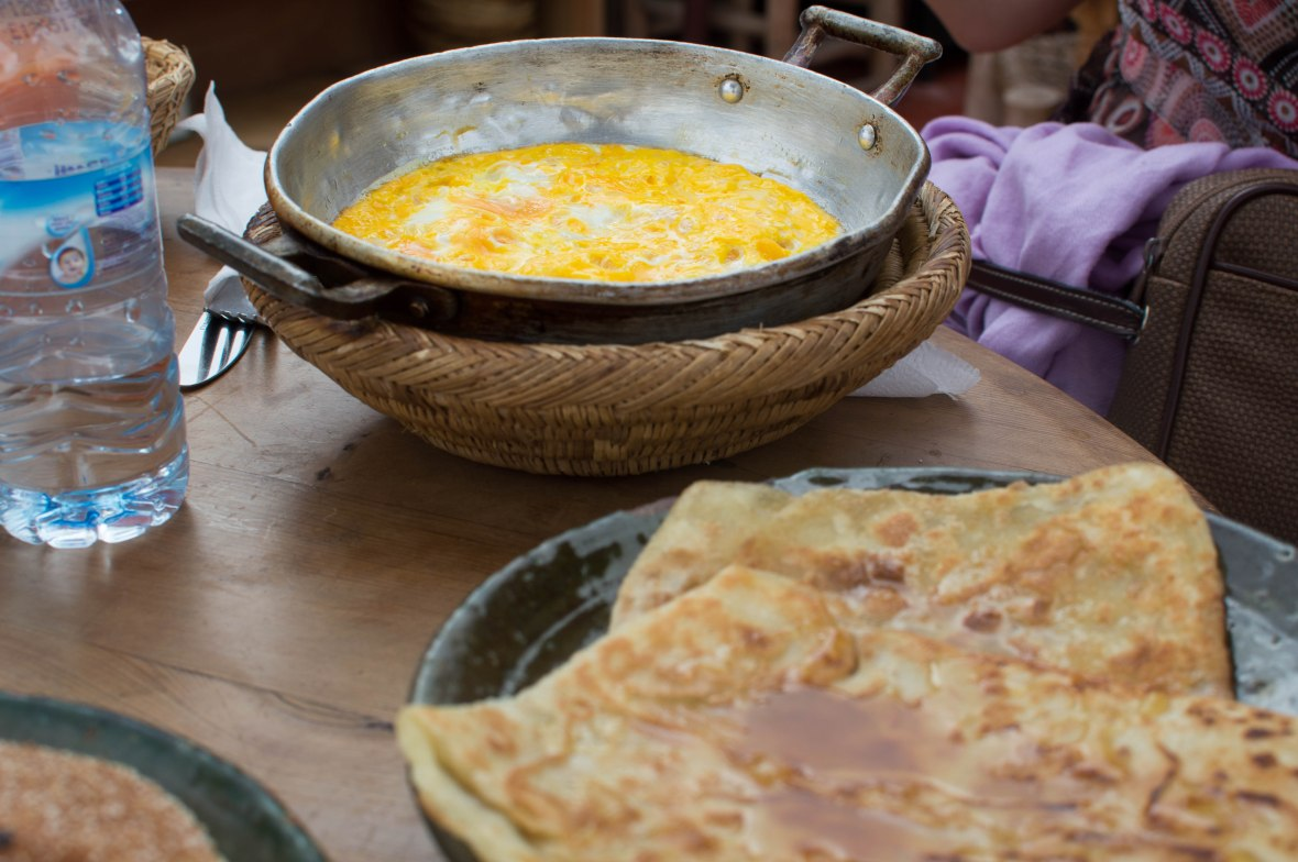 Eggs And Pancakes, La Terrasse des Epices, Marrakech, Morocco