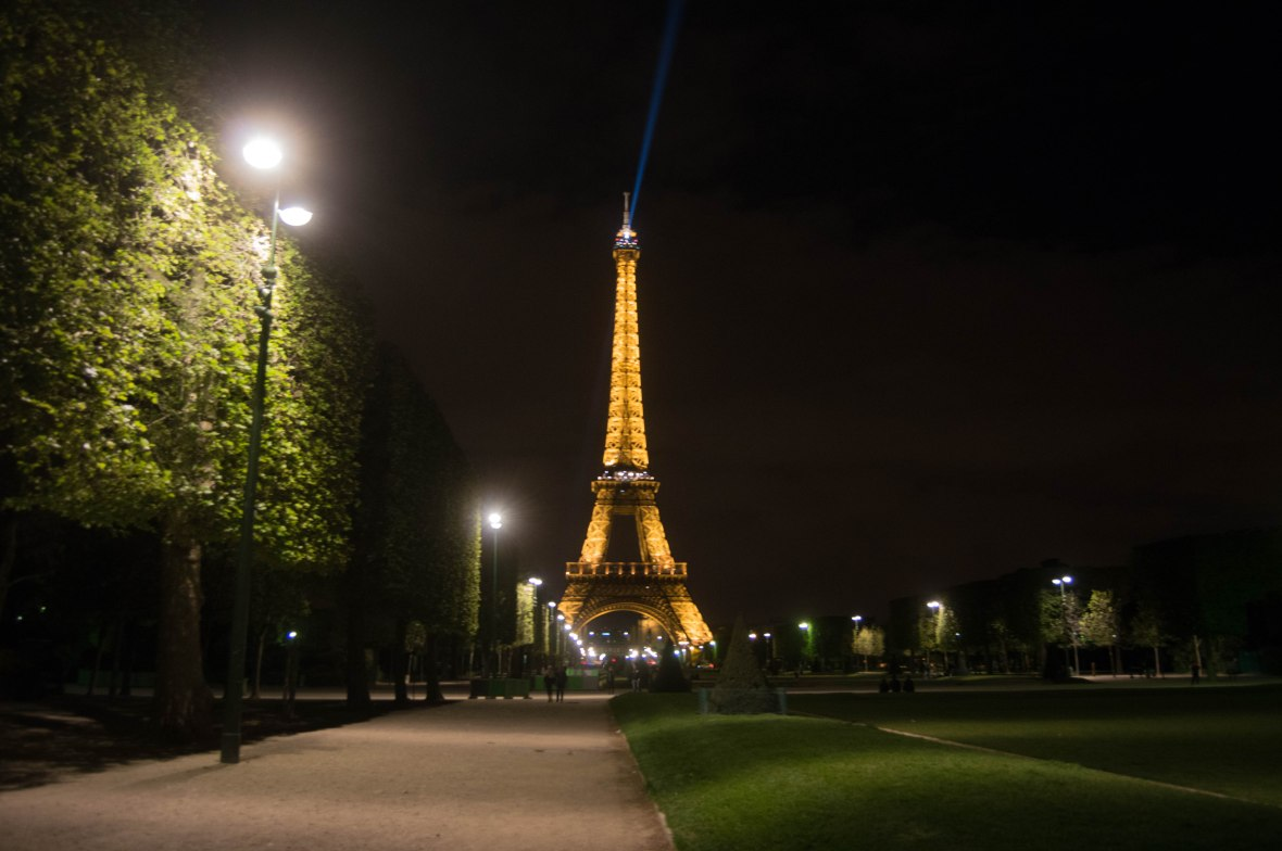 Eiffel Tower At Night From Champ De Mars Park, Paris, France