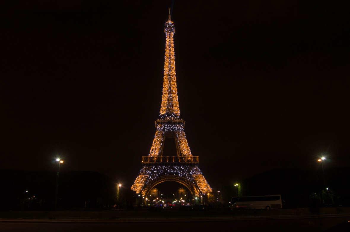 Eiffel Tower Light Show At Midnight, Paris, France