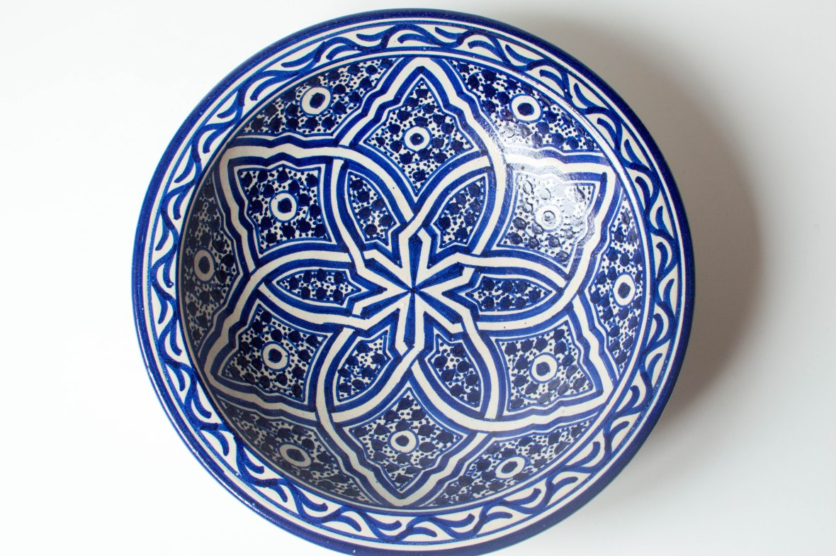 Large Blue and White Bowl From Marrakech, Morocco