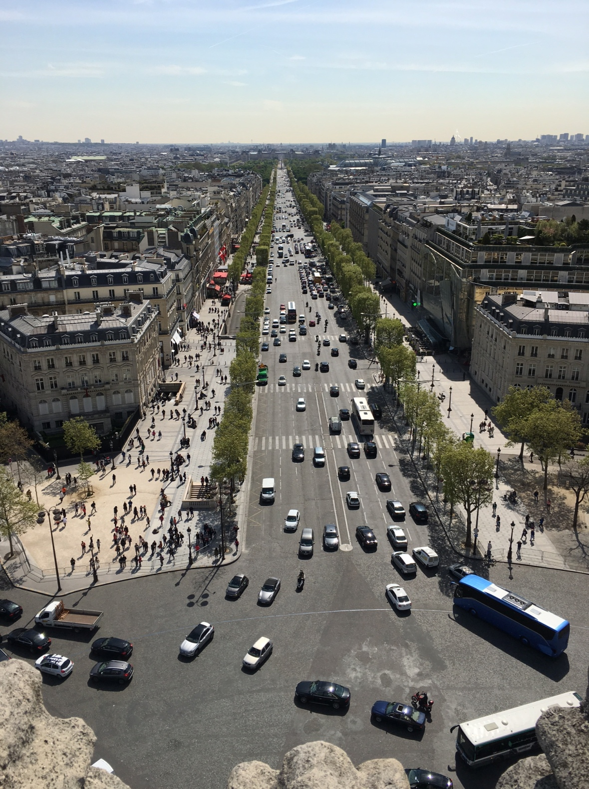 Looking Down, Champs Elysees From The Arc Du Triomphe, Paris, France