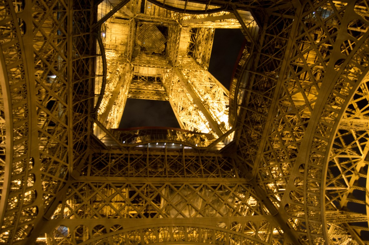 Looking Up, Eiffel Tower At Night, Paris, France