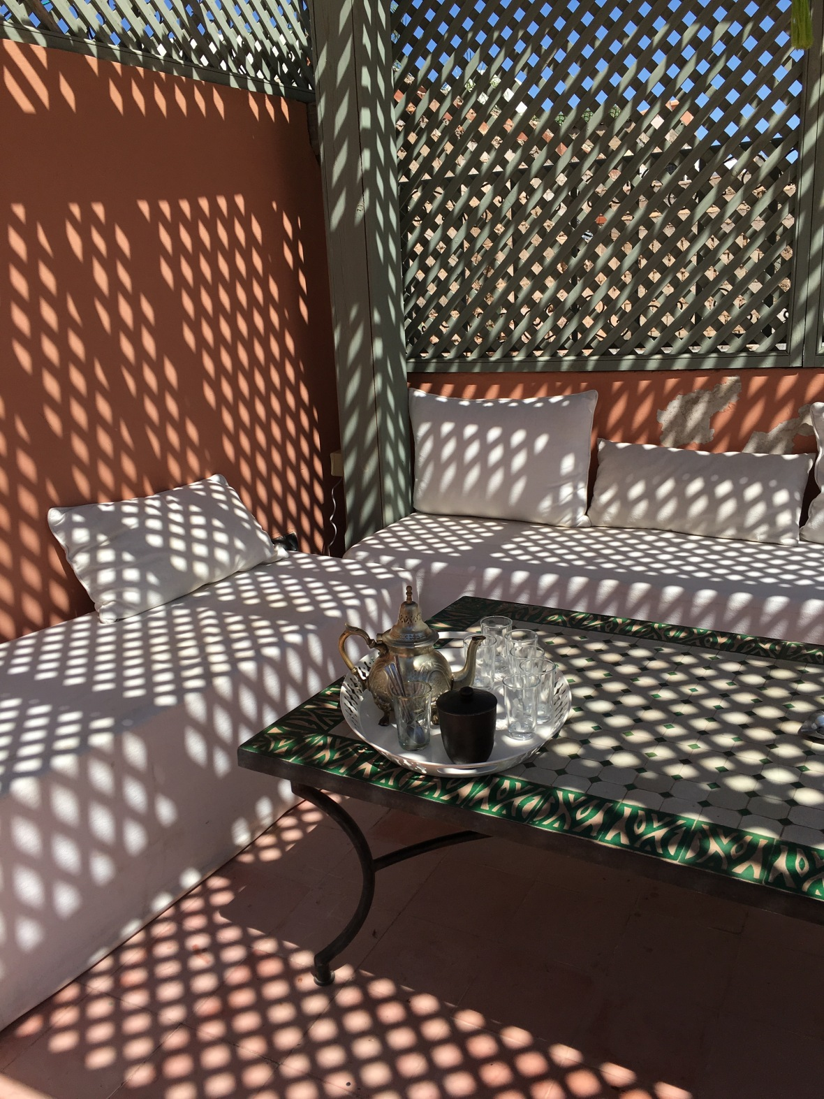Mint Tea On The Roof, AirBnB Riad, Marrakech, Morocco