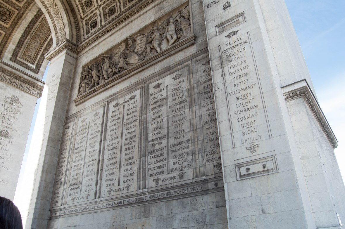 Names Inscribed On The Arc de Triomphe, Paris, France