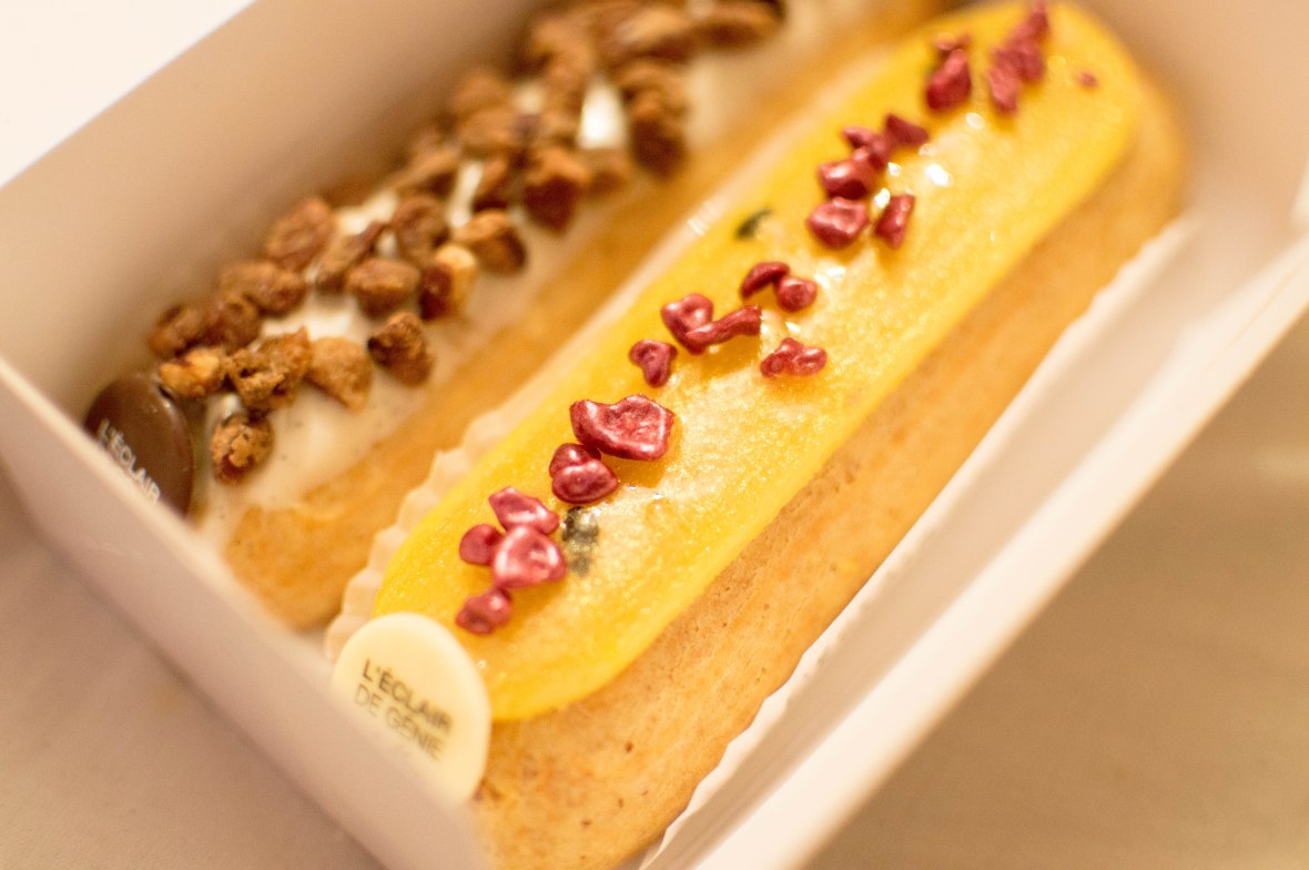 Passion Fruit & Raspberry and Vanilla Pecan Eclairs, L'Eclair de Génie, Paris, France