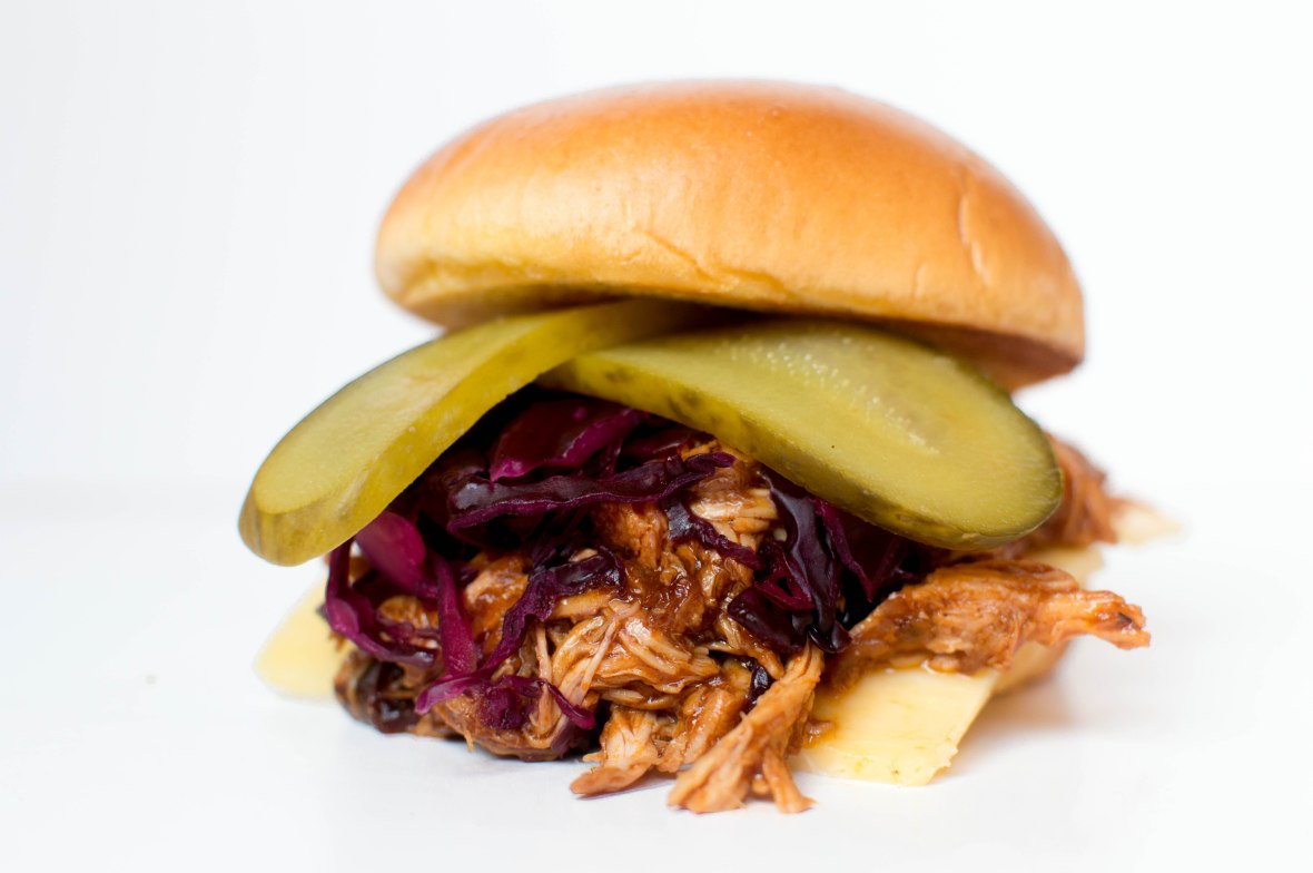 Pulled BBQ Chipotle Chicken Burgers With Red Cabbage Slaw