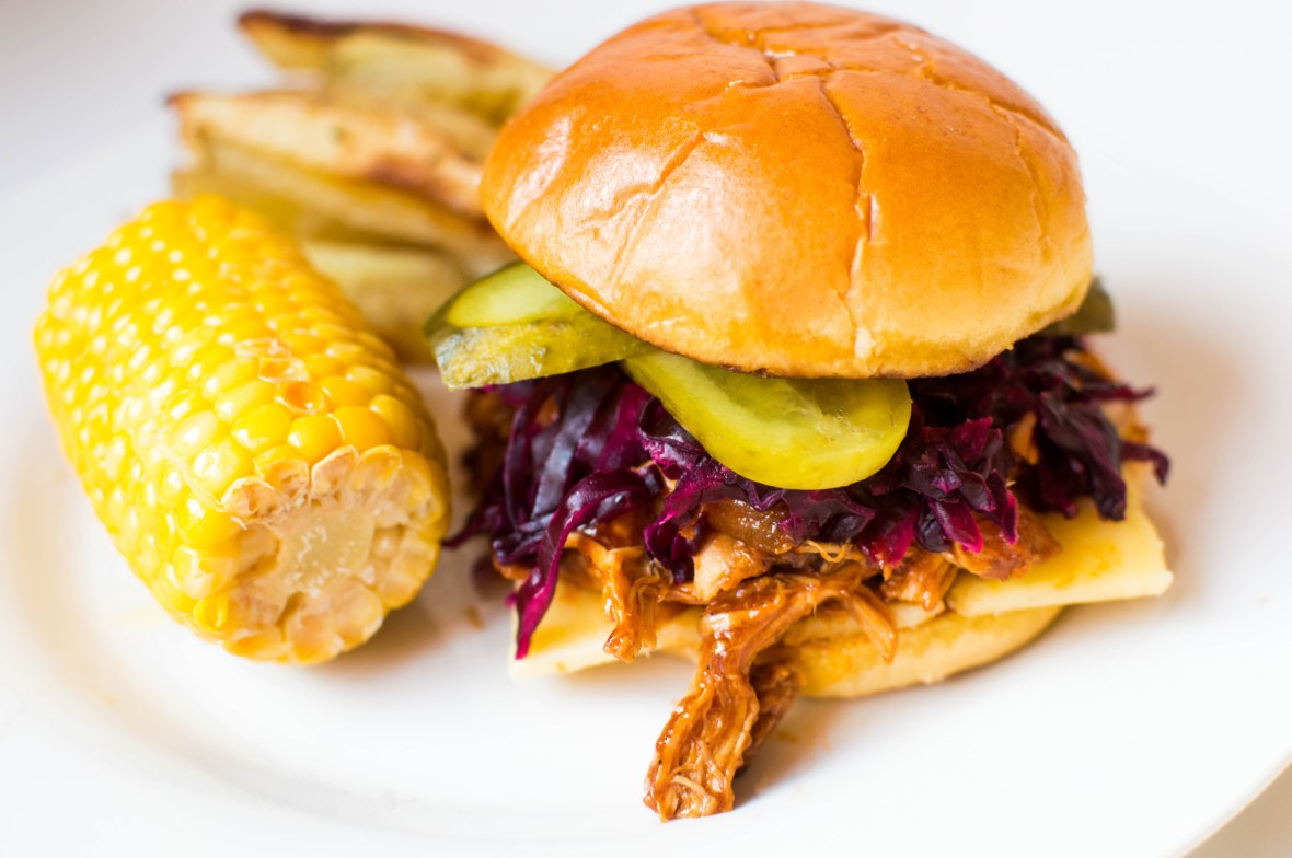Pulled Chipotle BBQ Chicken Burger With Sweetcorn And Oven Baked Fries