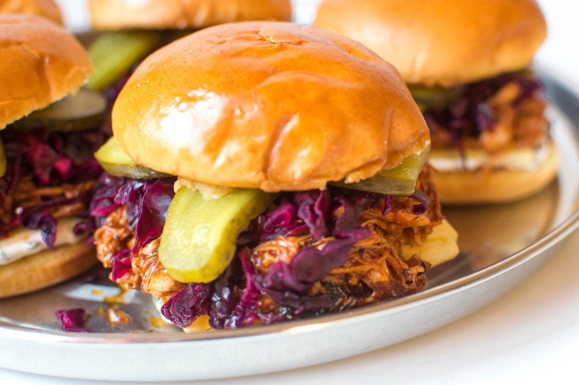 Pulled Chipotle BBQ Chicken Burgers With Red Cabbage Slaw And Gherkins