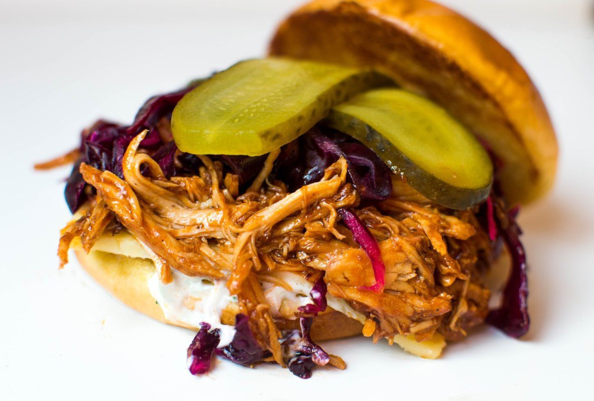 Pulled Chipotle BBQ Chicken Burgers With Red Cabbage Slaw
