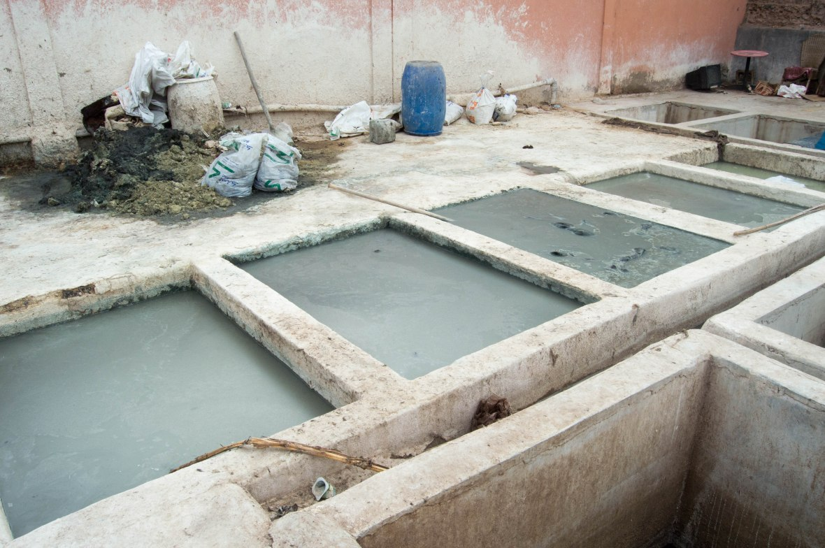 Quicklime And Water, Tanneries, Marrakech, Morocco
