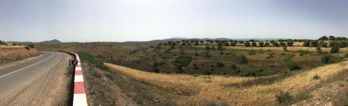 Roadside Panoramic Of The Journey to Ouzoud Falls, Morocco