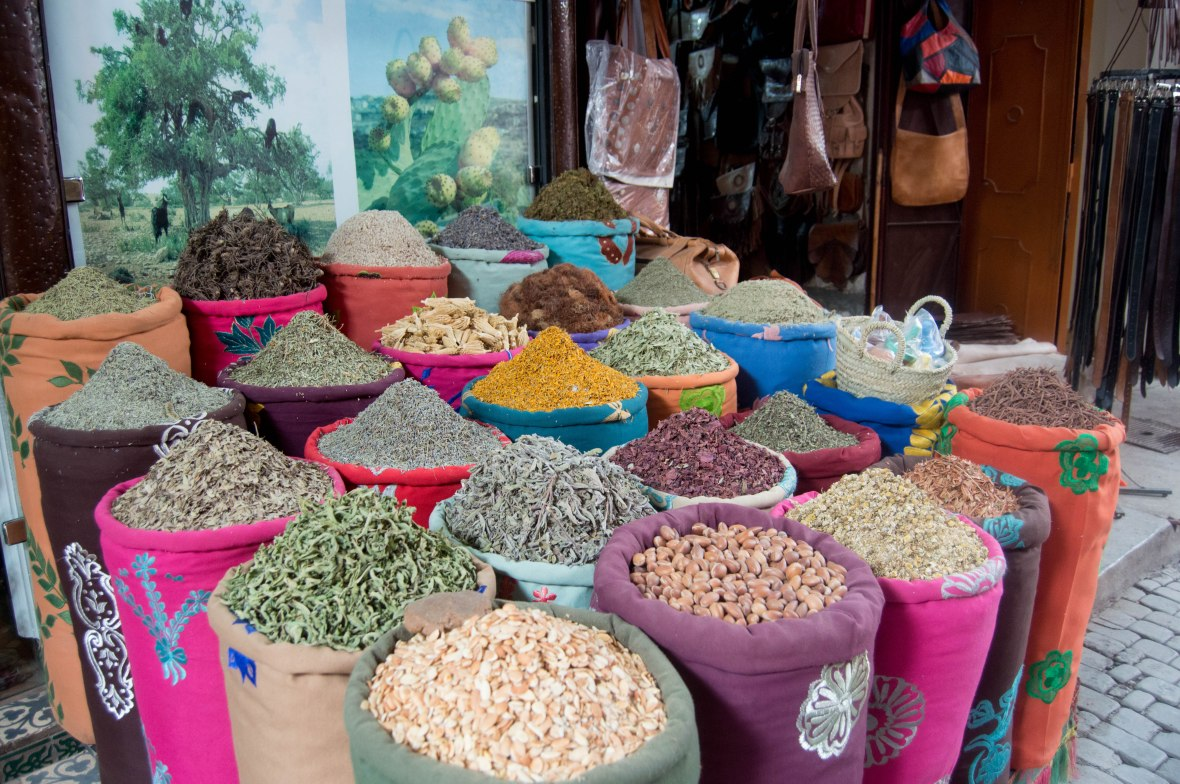 Spices And Herbs In The Souks, Marrakech, Morocco