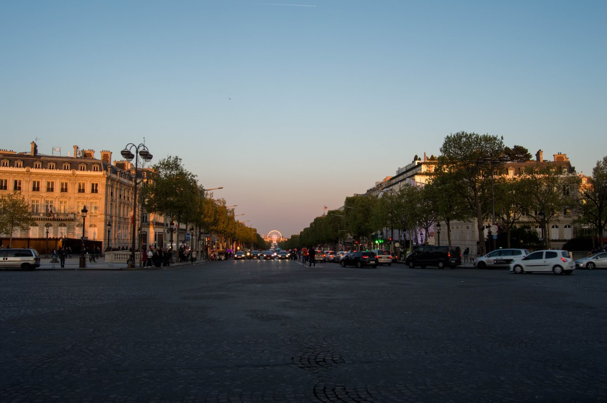 Sunset, Champs Elysees, Paris, France
