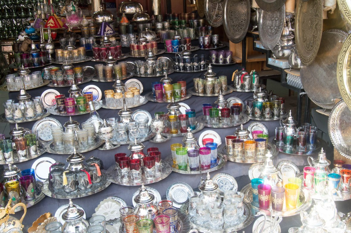 Tea Pots and Glasses, Souks, Marrakech, Morocco