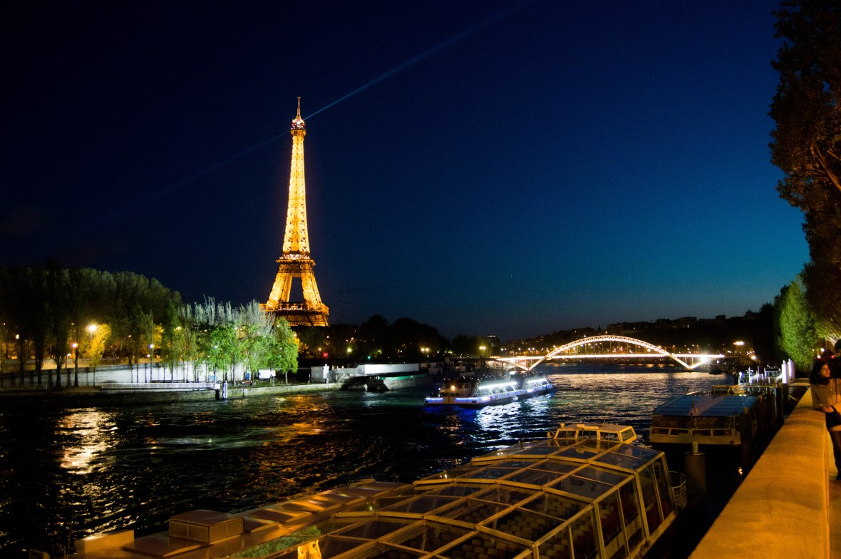 View Of Eiffel Tower From Pont de l'Alma By Night, Paris, France