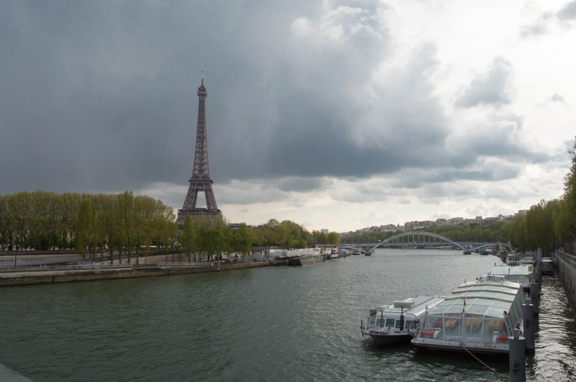 View Of Eiffel Tower From Pont de l'Alma, Overcast Day, Paris, France