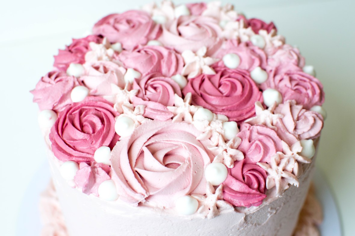 Close Up Of Rose Frosting On Raspberry And Cream Cake - Kay's Kitchen
