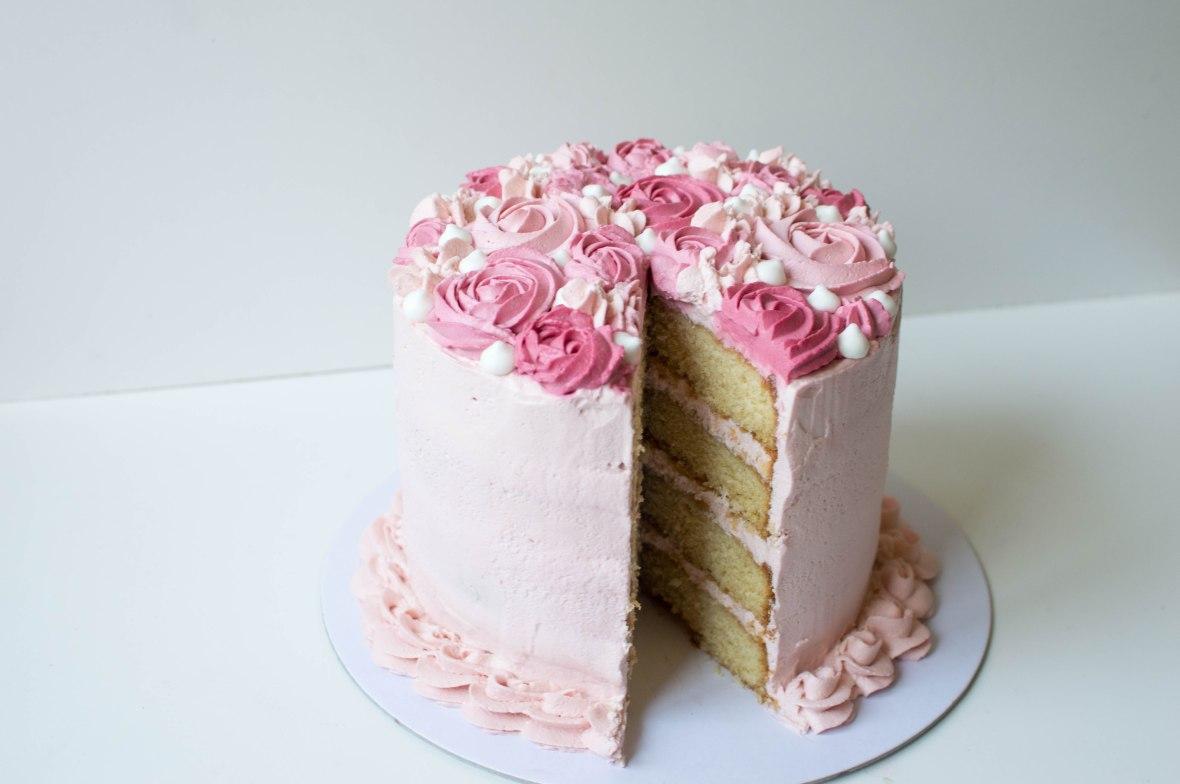 Four Tier Raspberry and Cream Cake - Kay's Kitchen
