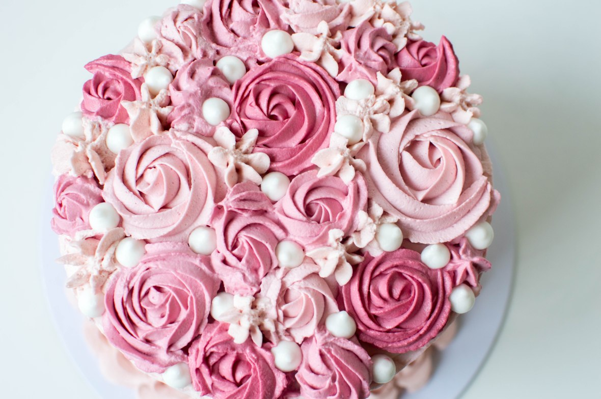 Rose Icing On Raspberry And Vanilla Cake - Kay's Kitchen