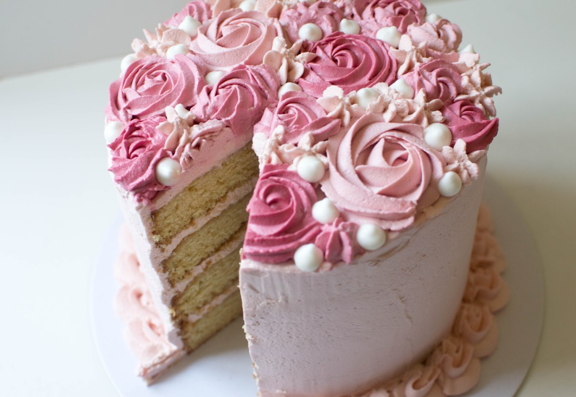 Rose Raspberry Cream Cake - Kay's Kitchen