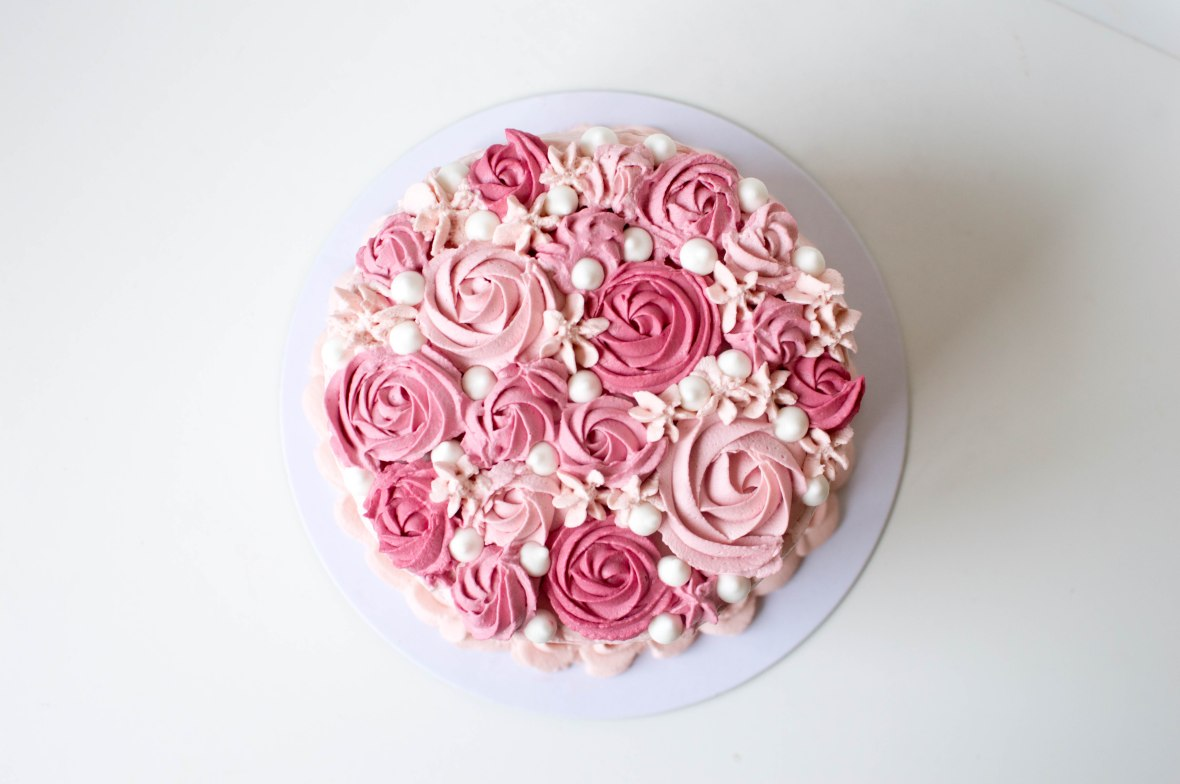 Vanilla And Raspberry Cream Cake With Rose Piping - Kay's Kitchen