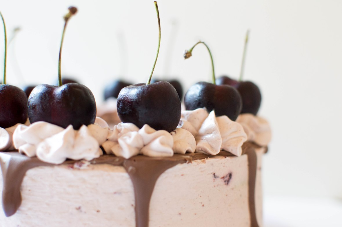 Close Up Of Black Cherry Frosting and Chocolate Drip On Cake - Kay's Kitchen