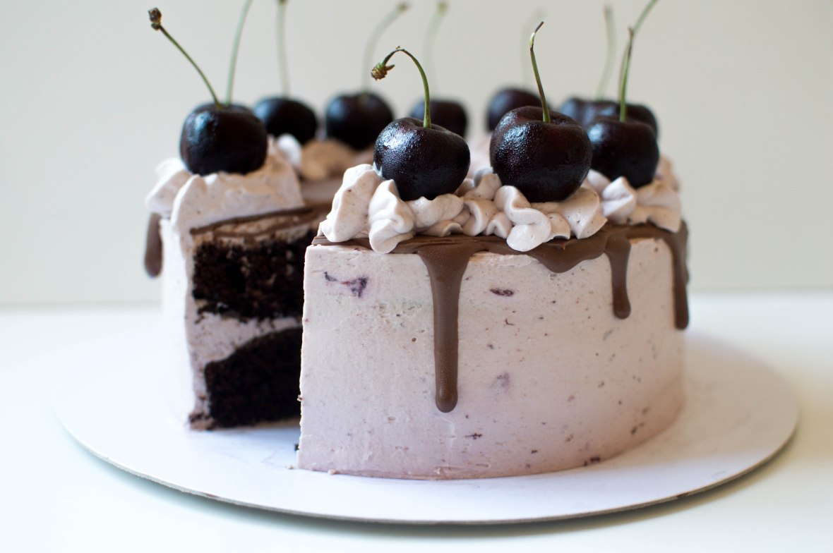 Moist Chocolate Cake With Black Cherry Frosting - Kay's Kitchen