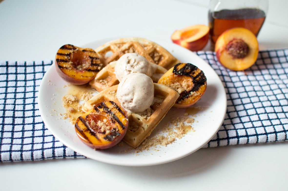 Grilled Maple Peaches, Waffles, Cinnamon Icecream & Crumble - Kay's Kitchen