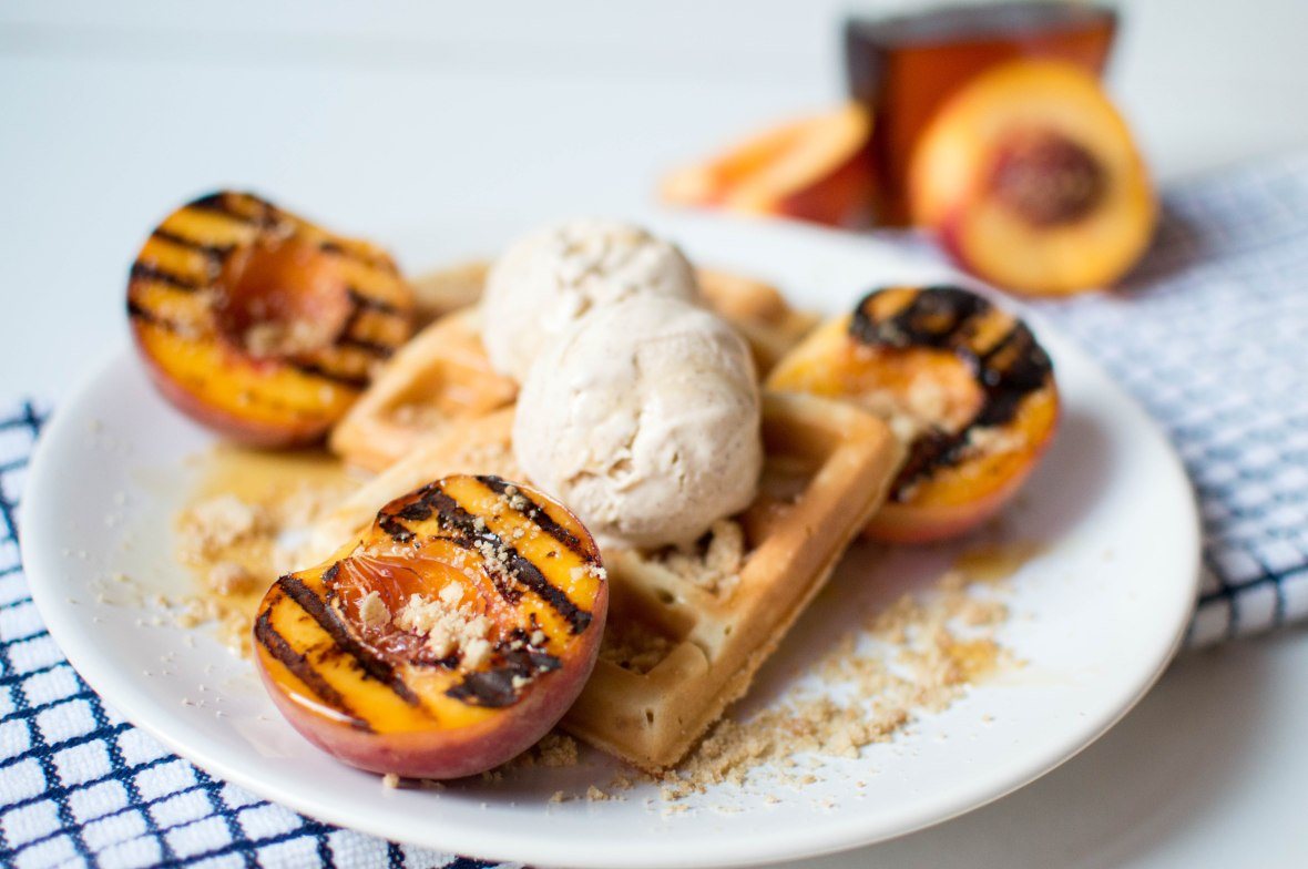 Grilled Maple Peaches, Waffles, Cinnamon Icecream - Kay's Kitchen
