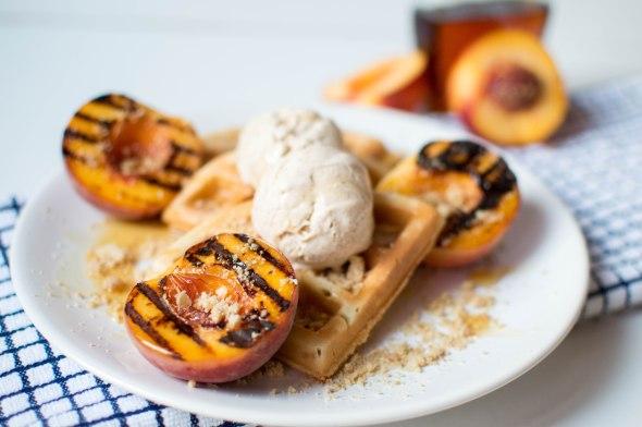 Grilled Maple Peaches, Waffles, Cinnamon Icecream - Kay's Kitchen
