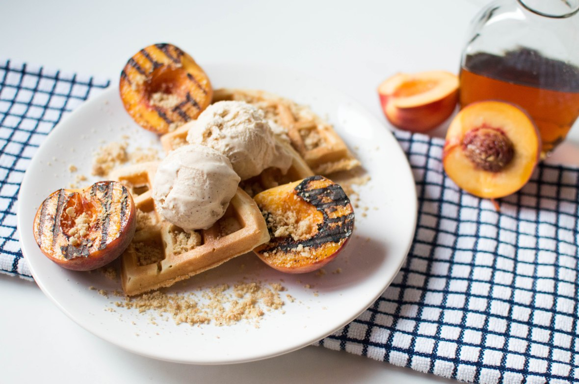 Maple Grilled Peaches With Waffles, Crumble & Cinnamon Icecream - Kay's Kitchen