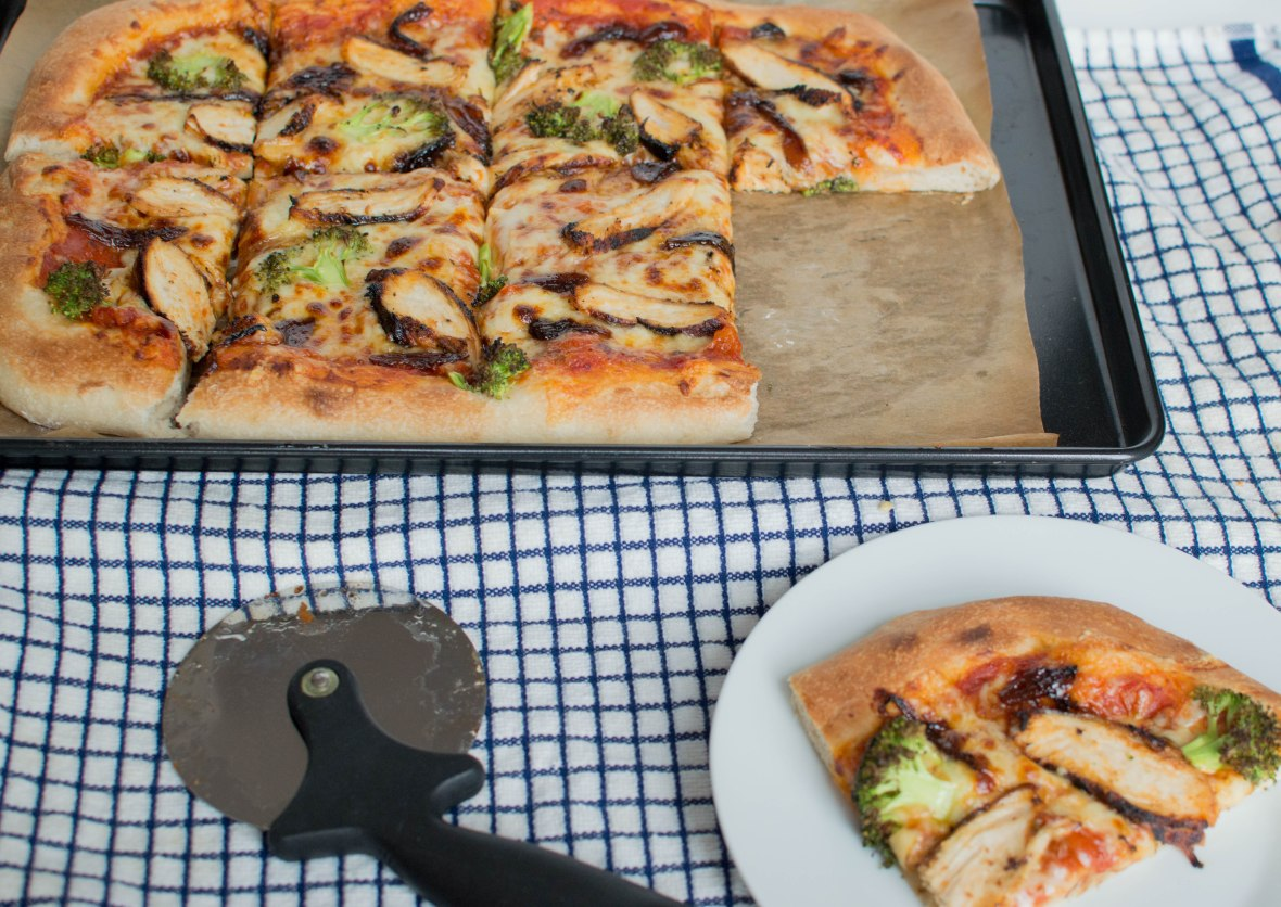 Slice Of Chicken, Broccoli & Red Onion Chutney Pizza - Kay's Kitchen
