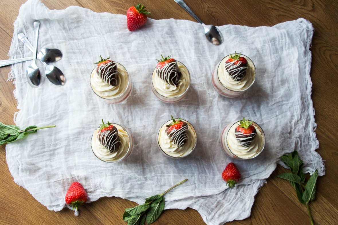 Top Down View Of Individual Strawberry Cheesecakes - Kay's Kitchen