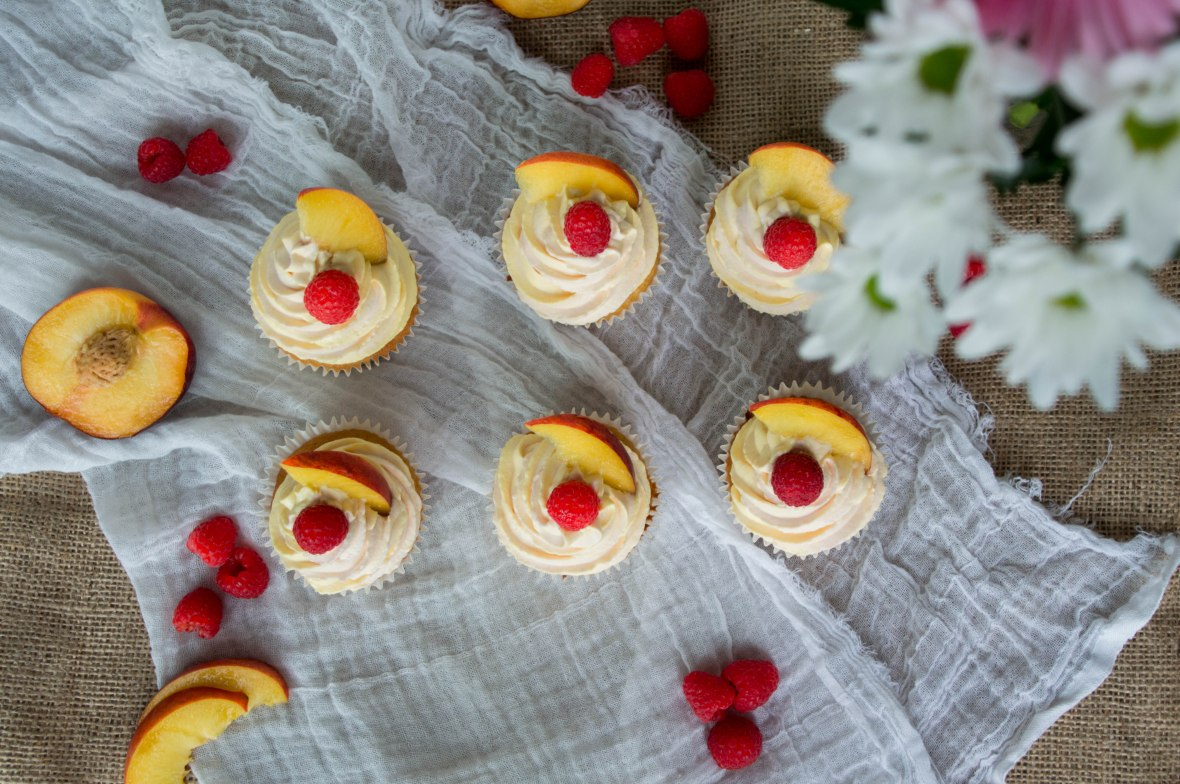 Raspberry And Peach Cupcakes - Kay's Kitchen