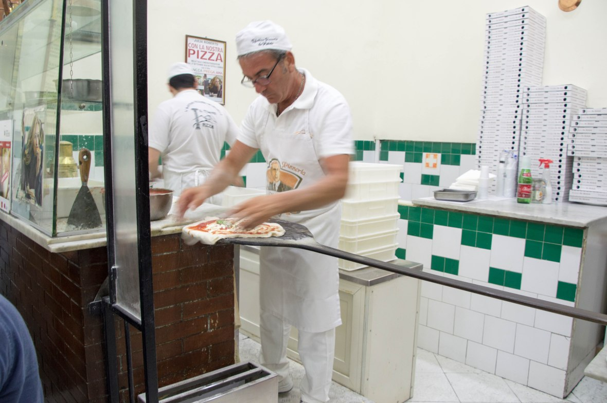 Assembling Pizza, L'Antica Pizzeria da Michele, Naples, Italy