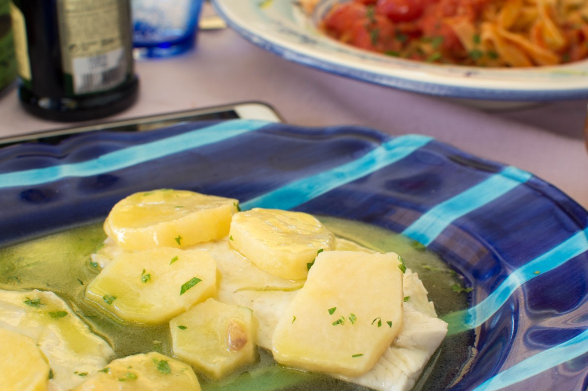 Sea Bass And Potatoes In A Lemon Sauce, La Cambusa, Positano, Amalfi