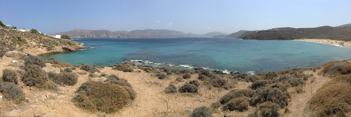 Agios Sostis Beach Panorama, Mykonos, Greece
