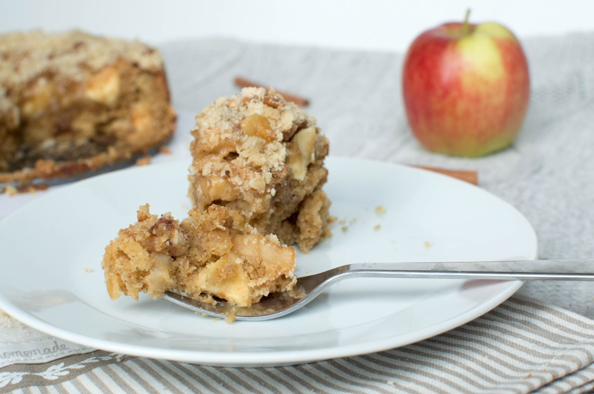 Apple Cake Topped With Caramelised Apples and Crumble - Kay's Kitchen